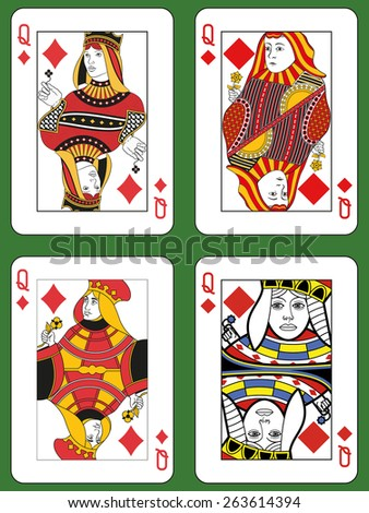 Four Queens of Diamonds in four different styles on a green background