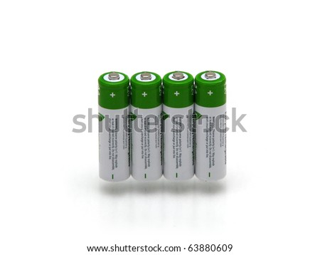 Four rechargeable battery isolated on white bakground - stock photo