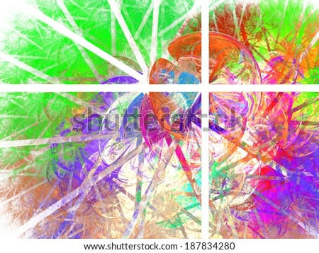 Four rectangles colorful abstraction. Beautiful intricate colorful abstraction composed of four rectangles with bubbles and stripes pattern, on the white background. - stock photo