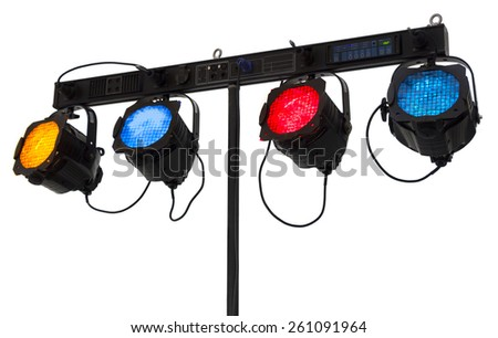 Four reflectors on a console isolated on white background - stock photo
