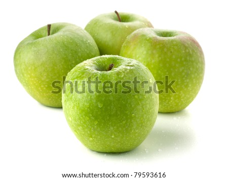 Four ripe green apples. Isolated on white - stock photo