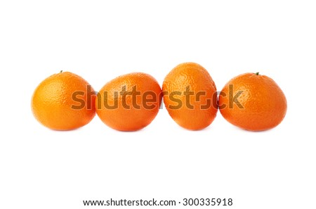 Four ripe orange fresh juicy tangerines fruits composition isolated over the white background - stock photo