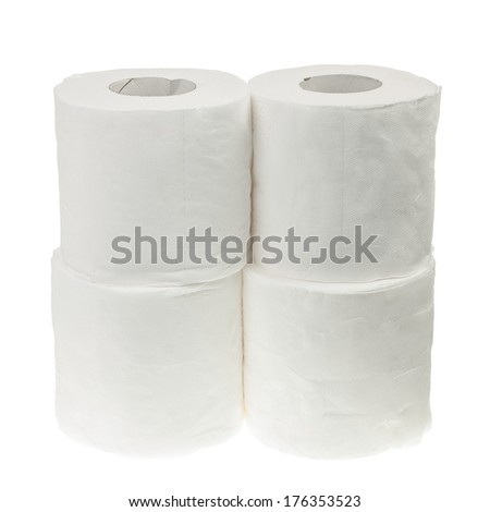 Four rolls of toilet paper isolated on white background