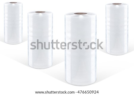 Four Rolls of white plastic stretch film on white background