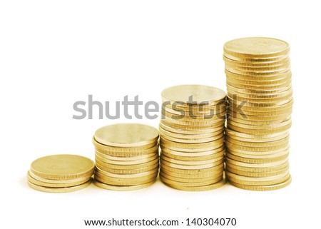 four rows of gold stack coins - stock photo