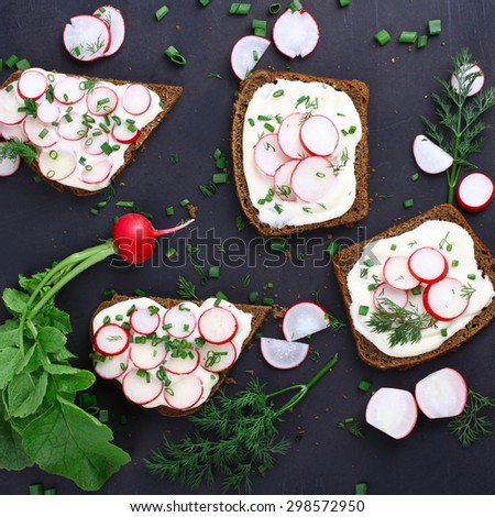 Four sandwiches with sour cream, onions and radishes and sliced radish on a isolated  black background - stock photo