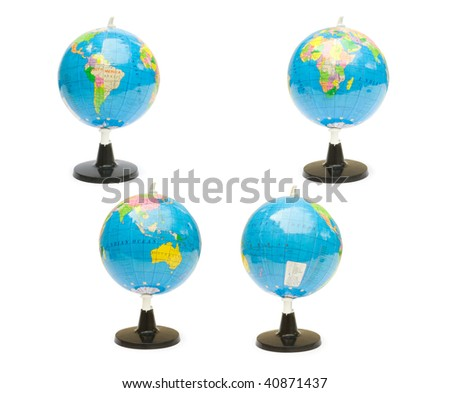 Four school globes isolated on a white background