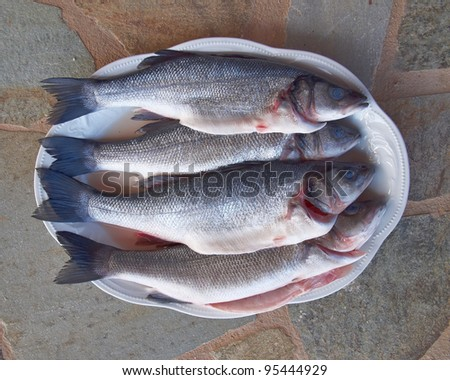four sea bass fish in a plate