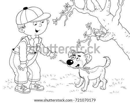Four Seasons Cute Boy His Dog Stock Illustration 721070179 ...