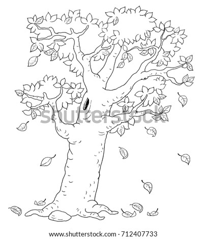 An Autumn Tree Coloring Page Book Illustration For Children