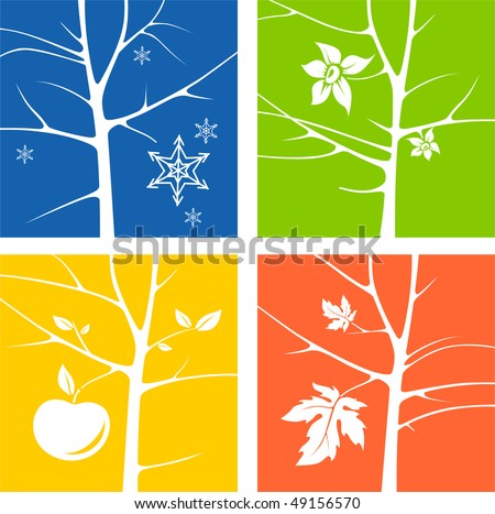 Four Seasons Illustration Blue, Yellow, Green, Orange - stock photo