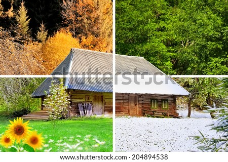 Four seasons in one photo. The wooden house - stock photo