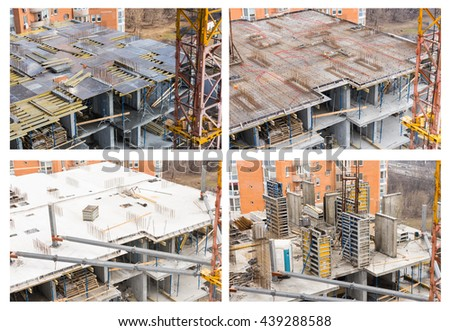 Four separate stages of large concrete building construction in progress with tower crane, beams and exposed foundation columns - stock photo