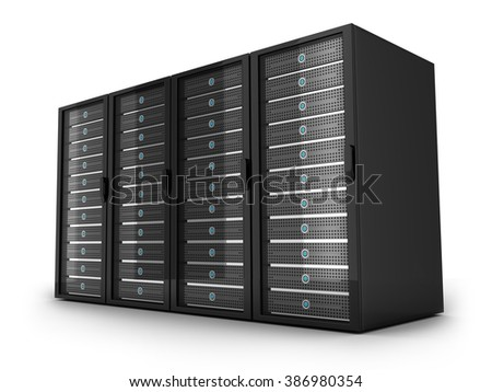 Four Server high-end, view front (done in 3d)  - stock photo