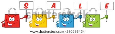 Four Shopping Bags Cartoon Character Holding Up A Blank Sign With Text. Raster Illustration Isolated On White - stock photo