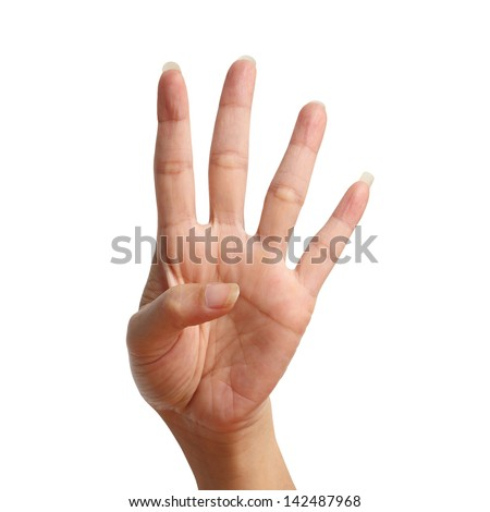 Four signal raise up, making by hand isolated over white background