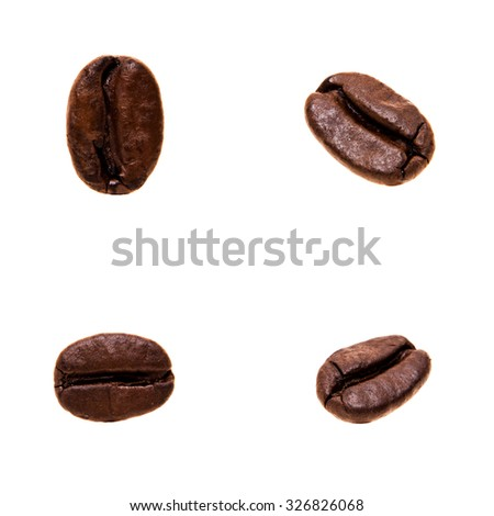 Four single coffee beans in different angles. All on white background
