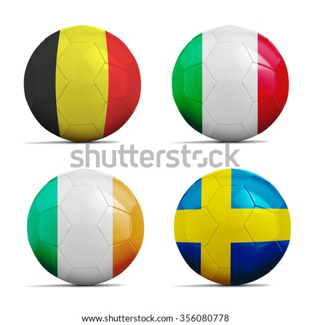Four Soccer balls with group E team flags, Football Euro cup 2016.  - stock photo