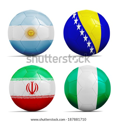 Four soccer balls with group F teams flags, Football Brazil 2014.  - stock photo