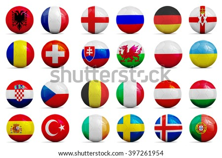 Four Soccer balls with groups team flags, Football Euro cup 2016.  - stock photo