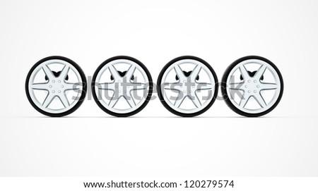 Four sport car wheel isolated on white background - stock photo