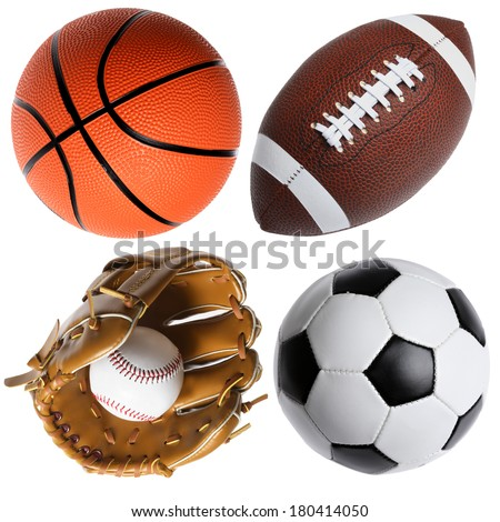 four sports balls - stock photo