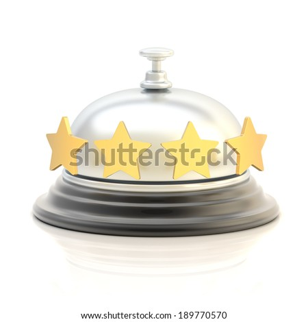 Four star hotel's reception silver bell over the white surface with reflections - stock photo