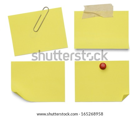 Four Sticky Notes Isolated on White Background.