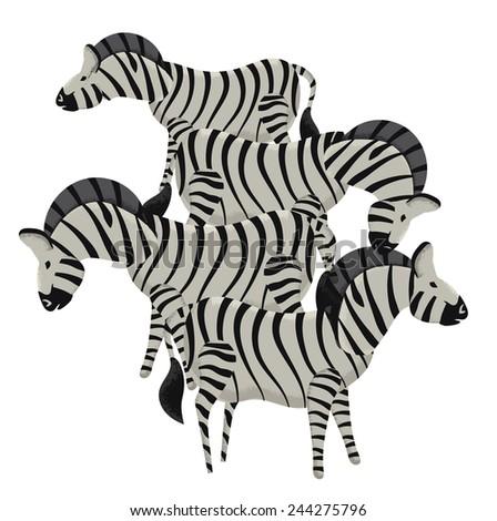four striped zebras group four cartoon stock illustration 244275796 rh shutterstock com cartoon zebra pictures cartoon zebra head