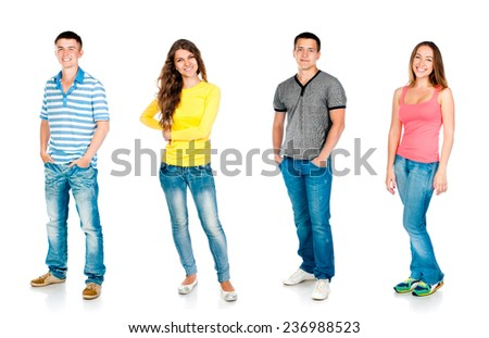 four students are isolated on a white background