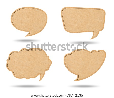 Four Style of Retro speech bubbles from Recycle Paper on white background