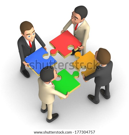 four successful businessman with puzzles