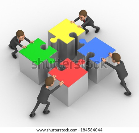 four successful businessman with puzzles - stock photo