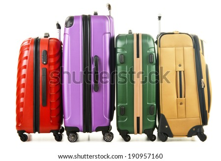 Four suitcases isolated on white background - stock photo