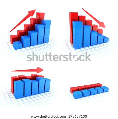 Four Symbol diagrams (done in 3d, white background)  - stock photo