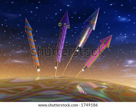 Four symbolic fireworks rockets ready to go off - stock photo