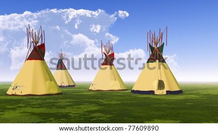 Four Teepees - stock photo