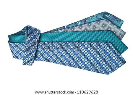 Four ties on white background - stock photo