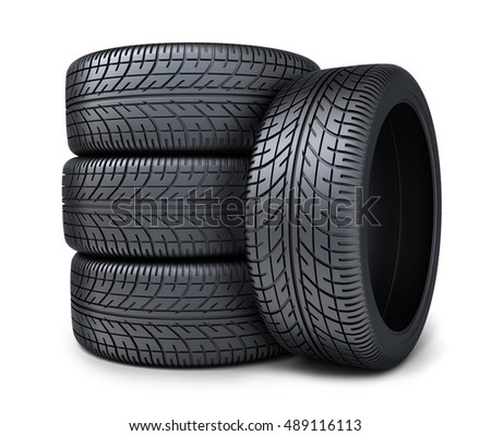 Four tire car on white background (done in 3d rendering)
