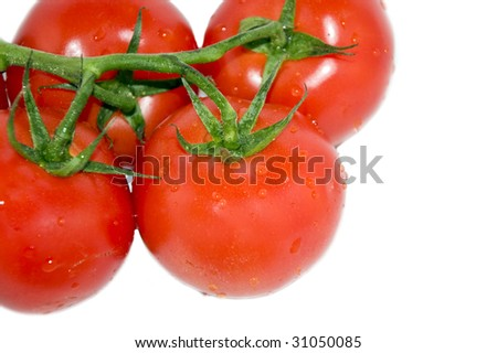 Four tomatoes, isolated on white - stock photo