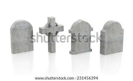 Four tombstones isolated on white background. - stock photo