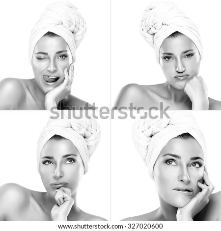 Four toned monochrome beauty portraits of a gorgeous naked young woman undergoing a hair treatment with her hair in a towel showing various expressions - thoughtful, pensive, playful and bored. - stock photo