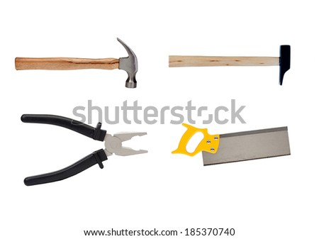 Four tools on the woodworking industry isolated on a white background - stock photo