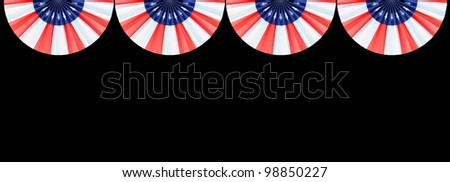 Four US Flag Buntings isolated on black background with room for your text