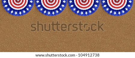 Four US Flag Buntings isolated on cork board background with room for your text - stock photo