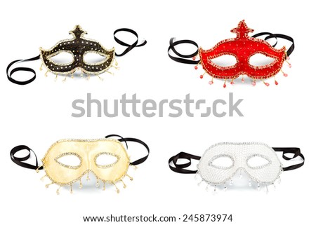 Four Venice masks over white background, collage - stock photo