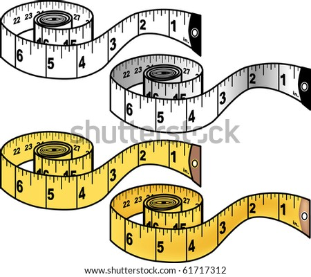 Four versions of a measuring tape illustration: one color and one black and white  Tape features both standard and metric units.