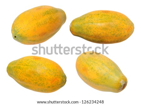 four views of Hawaii papaya isolated on white background - stock photo