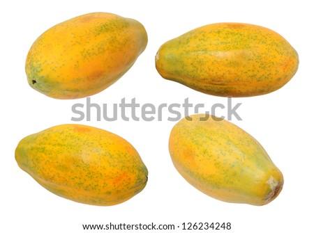 four views of Hawaii papaya isolated on white background - stock photo