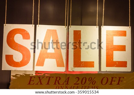 Four vintage brown tags with word sale. A sale/deal promotion notice in the shopping mall - stock photo